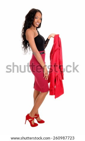 A tall slim young African American woman in a red skirt and black blouse
