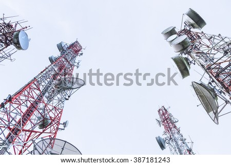 A tall structure tower with antenna for communication in Thailand - stock photo