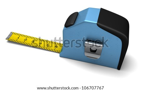 A tape measure with the strip out showing measurements example - stock photo