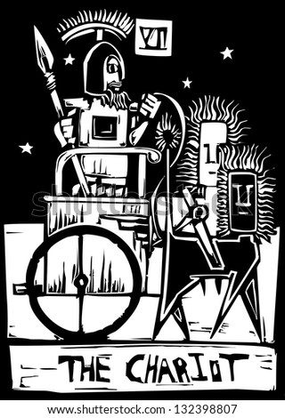 A Tarot card image of the Chariot. - stock photo