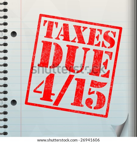 A tax time themed montage for US taxpayers warning about the due date of April 15 - stock photo