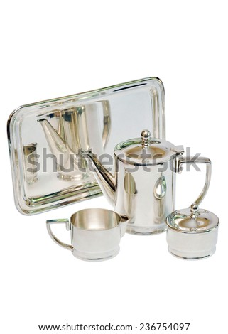 a tea set made of stainless steel Isolated on white background - stock photo