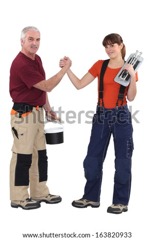 A teacher and his trainee. - stock photo