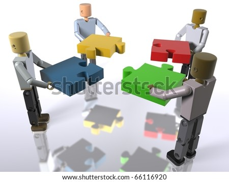 A team collaborating to build a puzzle (video also available) - stock photo
