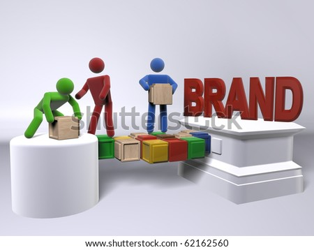 A team of diversity building a brand - stock photo