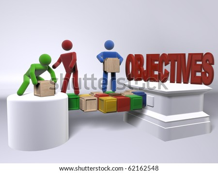 A team of diversity building a bridge to reach the objectives - stock photo