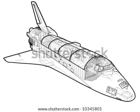 A technical illustration of a space shuttle. - stock photo