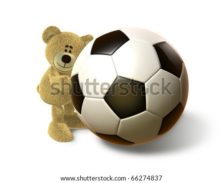 A teddy bear embraces a huge Soccer Ball and smiles. Viewed from front. This image is isolated on a white background with soft shadows. - stock photo