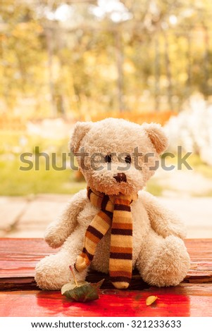 A teddy bear sits alone on a  bench outdoor - stock photo