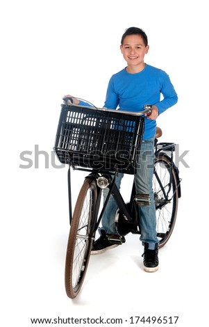 a teenage boy with a bike, on a white background - stock photo