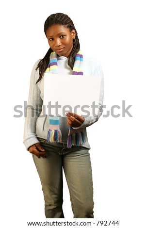 A teenage girl holding a blank sign. Isolated with clipping path. - stock photo