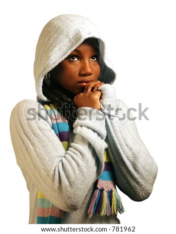 A teenage girl praying.  Isolated with clipping path. - stock photo