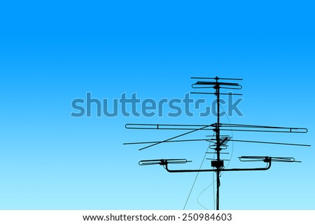 A television antenna on blue gradient background - stock photo