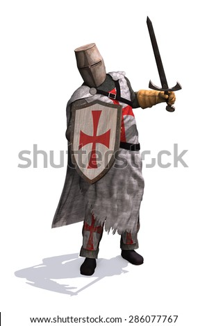 A Templar Knight ready to do battle - 3d render. - stock photo
