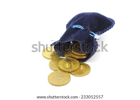 A ten coins spill out of the blue bag - stock photo