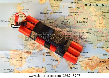 a terrorist bomb on the map of Europe - stock photo