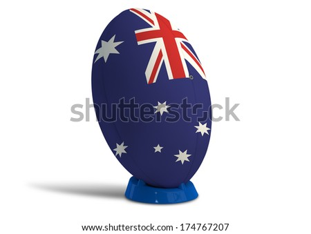 A textured rugby ball in the colors of the australian national flag on a kicking tee on a isolated white background - stock photo
