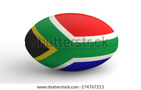 A textured rugby ball in the colors of the south african national flag on an isolated white background - stock photo