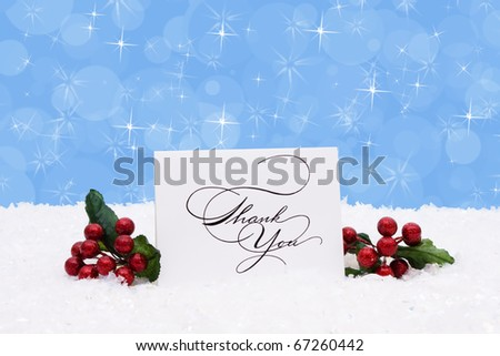 A thank you card sitting on snow with a blue background, Christmas Time - stock photo