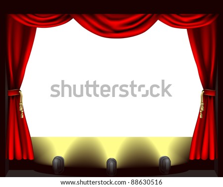 A theatre stage, lights and curtain illustration - stock photo