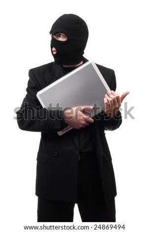 A thief wearing a black suit is stealing corporate secrets, isolated against a white background - stock photo