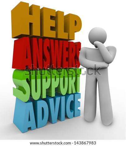 A thinking man stands confused and lost beside the words Help, Answers, Support and Advice waiting for someone to assist him in his question - stock photo