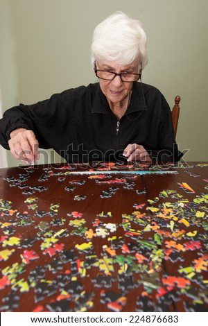 A thousand piece jigsaw puzzle put together by a white haired elderly retired white woman - stock photo