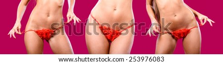 A three fragments of woman body in red panties / Lingerie / Underwear/Woman body shape/Female body/Woman body - stock photo