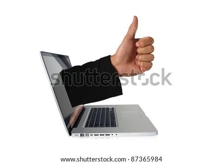 A thump through a computer screen - stock photo