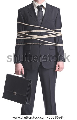 A tied-up businessman isolated on a white background - stock photo