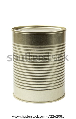 A tin food can isolated on white - stock photo