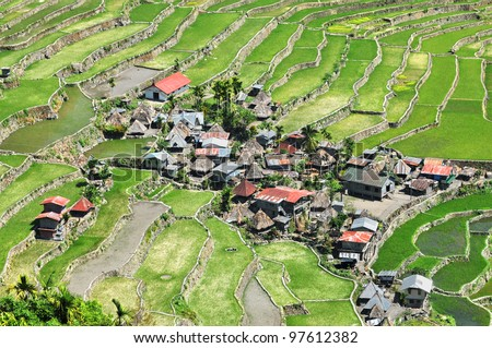 A tiny village in Batad Rice Terraces in Ifugao, Northern Luzon, Philippines. - stock photo