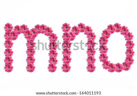 a to z Lowercase letters from pink gerbera flowers alphabet isolated on white background - stock photo