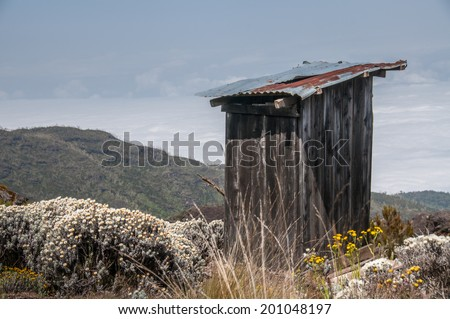 A toilet shed on the trial to Shira camp, Kilimanjaro - stock photo