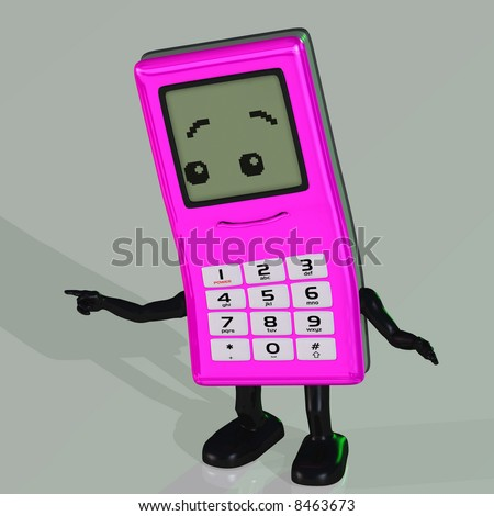 A toon cell phone with arms and legs with Clipping Path - stock photo