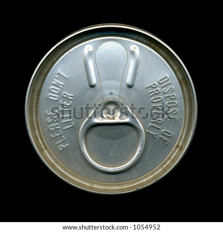 A top down view of a vintage beer can with old style pull tab - stock photo