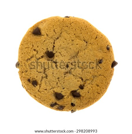 A top view of a single chocolate chip cookie on a white background. - stock photo