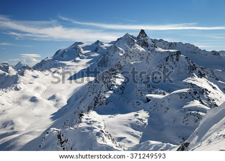 A top view of Alps in Savoy, France - stock photo