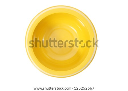 A top view of an empty dog bowl (isolated a white background). - stock photo