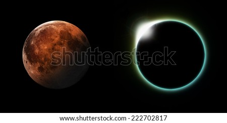 A total solar and Lunar eclipse side by side. Elements of this image furnished by NASA - stock photo