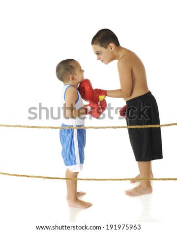 A tough-acting elementary boxer with a shiner threatening his preschool brother while standing behind boxing ring ropes.  On a white background. - stock photo