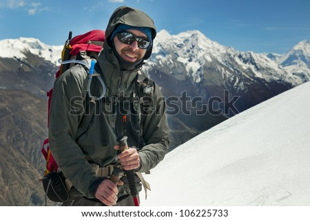 a tourist in Himalayas in Nepal - stock photo