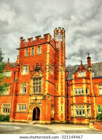 A tower of Queen's University Belfast - Northern Ireland - stock photo