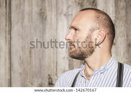 A traditional bavarian man with space for your content - stock photo
