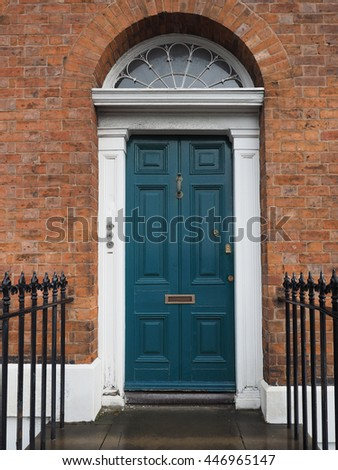 A traditional entrance door of a British house - stock photo