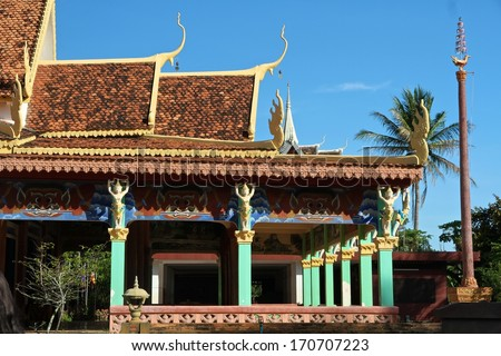 A traditional pagoda in the countryside of Siem Reap, Cambodia. - stock photo