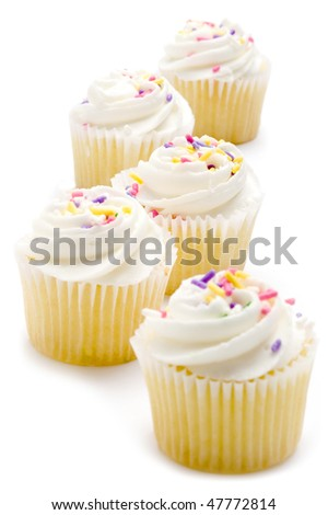 A trail of delicious cupcakes - stock photo