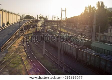 A train on the railway. sunset - stock photo