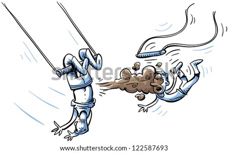 A trapeze artist knocks his partner off the bar with an accidental fart. - stock photo