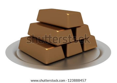 A tray of gold bullion 3d, isolated white background. - stock photo